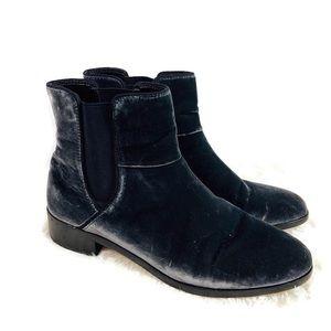 Ann Taylor Charcoal Gray Velvet Ankle Boots